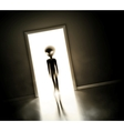 Alien at door vector image vector image