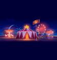 amusement park at night festive fair attractions vector image