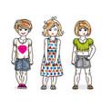 beautiful little girls cute children standing in vector image