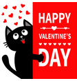 black cat holding big signboard looking up to vector image vector image