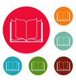 book learning icons circle set vector image vector image