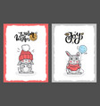 clipart of lovely rabbits on greeting cards vector image