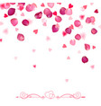 confetti from falling rose petals and hearts vector image vector image