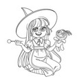 cute girl in witch costume sitting on the floor vector image vector image