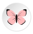 Cute pink butterfly icon flat style vector image