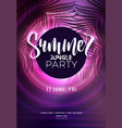 dark purple neon tropical summer party flyer with vector image vector image