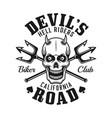 devil skull and tridents biker club emblem vector image vector image