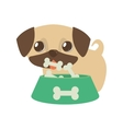 dog little tongue out bowl food b print vector image
