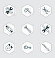 equipment icons set with magnet ax repair tools vector image vector image