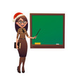female teacher in santa claus hat shows with vector image