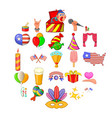 festive mood icons set cartoon style vector image vector image
