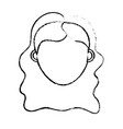 figure woman head with closed eyes and hairstyle vector image vector image