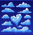 fluffy clouds in the cartoon style vector image