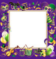 frame template with golden carnival masks on black vector image