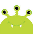 green monster head with three eyes fang tooth vector image vector image