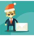 Happy businessman in Santa Claus hat Letter with vector image