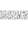 kinds birds doodle set vector image