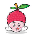 kissing face lychee cartoon character style vector image vector image