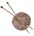 knitting logo ball and needles vector image