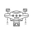 line technology drone with propeller and digital vector image