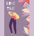 love time woman motivational banner vector image vector image