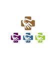 medical cross hand care logo vector image