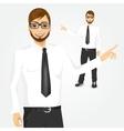 modern hipster businessman showing something vector image vector image