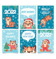 new year 2022 cards merry christmas poster vector image vector image
