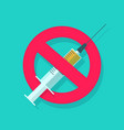 no or stop drugs sign flat cartoon medical vector image