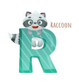 r letter and cute raccoon baby animal zoo