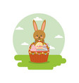 rabbit holds basket floral eggs decoration in vector image