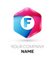 realistic letter f in colorful hexagonal vector image vector image
