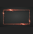 red shiny glitter glowing vintage frame vector image