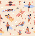 seamless pattern with people lying on beach and vector image vector image