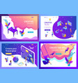 set isometric concept landing page vector image