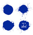 set of back to school ink watercolor blue splashes vector image vector image