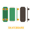 short skateboard bottom side and top view vector image