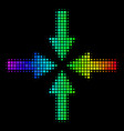 spectrum pixel collide arrows icon vector image vector image