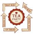 Tea party package set signpost with vector image vector image