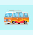 travelling trailer in retro style convenient home vector image vector image