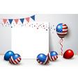 usa balloon and blank frame design vector image vector image