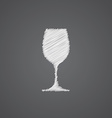 wineglass sketch logo doodle icon vector image
