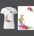 women white t-shirt with floral pattern vector image vector image