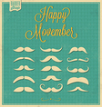 Collection of Mustache Retro Design vector image
