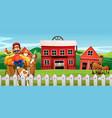 a farmer at farmland vector image vector image