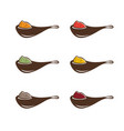 abstract spoons with different spices design vector image