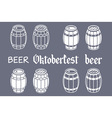 Barrels set beer oktoberfest wood vector image