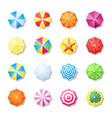 beach umbrellas multicolored top view set leisure vector image