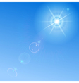 Blue sky with sun and lens flare vector image