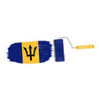 brush stroke with barbados national flag isolated vector image